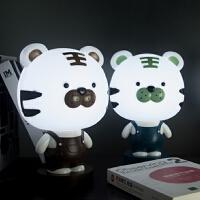 创意老虎台灯插电卧室床头灯伴睡眠灯INS卡通起夜喂奶护眼小夜灯