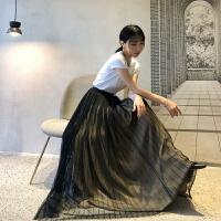 时尚纱裙2018夏季新款高腰显瘦蓬蓬裙复古网纱时尚半身长裙潮 黑色