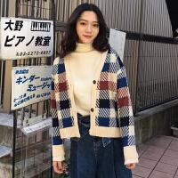 2018初春女装学生新款港味拼色格子CHIC小外套针织衫宽松长袖上衣