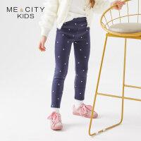 【全场2件2.5折,到手价:43.8】米喜迪mecity童装冬新款女童裤子雪花抓绒打底针织裤