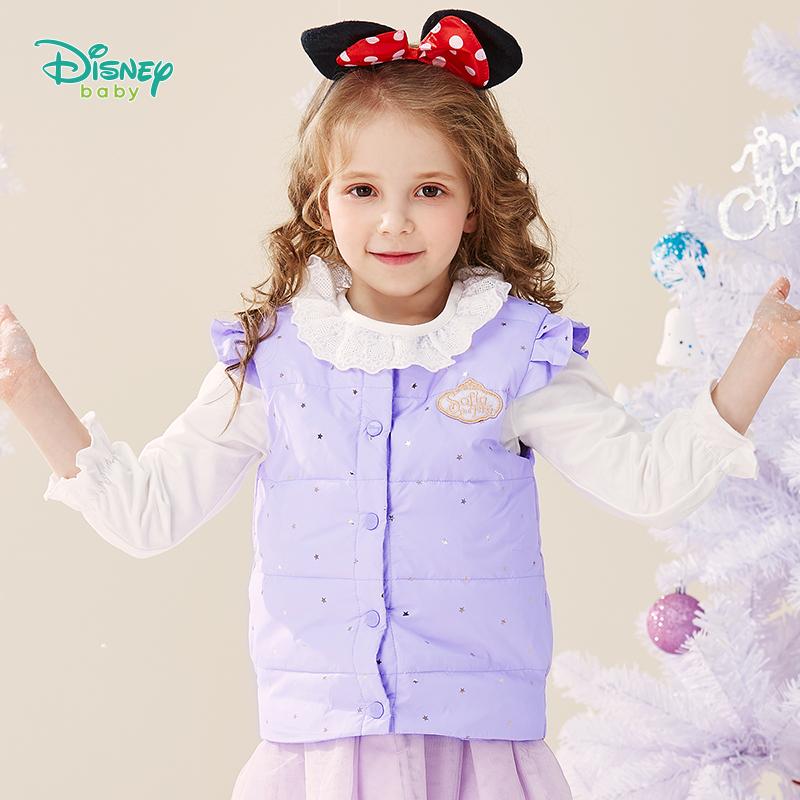 【2件3折到手价:79.5】迪士尼Disney童装 女童甜美羽绒马甲冬季新品白鸭绒马夹儿童无袖背心 194S1178 填充优质白鸭腹部朵绒,含绒量80%