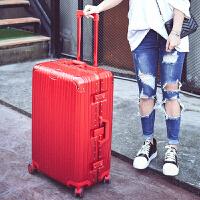 铝框拉杆箱PC海关锁行李箱万向轮20寸24寸26寸29寸男女托运箱硬箱 炫酷镜面 中国红 20寸
