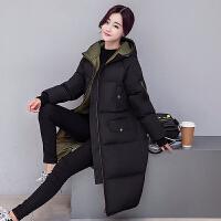 棉衣女中长款韩国软妹学生冬季宽松过膝羽绒大码加厚外套 黑色