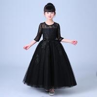 儿童礼服公主裙黑色女童蓬蓬纱花童演出服主持人走秀晚礼服模特夏