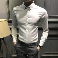 №【2019新款】冬天年轻人穿的白衬衫男长袖韩版休闲男士纯色衬衣男商务免烫男装潮