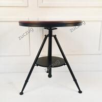 zuczug酒吧桌椅组合美式铁艺咖啡简约升降茶几欧式小圆桌复古拼板小茶几