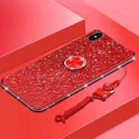苹果Xs max手机壳iPhone镶钻女款XsMax保护套mxa手环6.5英寸防摔 苹果XS MAX-红色