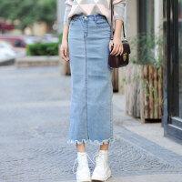 弹力牛仔半身裙女2018春季新款韩版开叉包裙高腰包臀中长款一步裙
