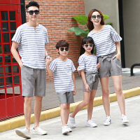 新款亲子装夏装一家三口四口短袖t恤春装母女母子全家庭装潮