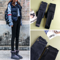№【2019新款】冬天美女穿的冬打底裤女外穿2018新款韩版显瘦高腰牛仔小脚棉裤子