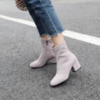 彼艾2018新款短靴高跟裸靴韩版小短靴马丁靴女靴秋冬瘦瘦靴女靴子