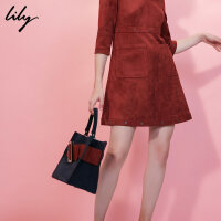 【每满200减100】LILY2018冬新款女装OL摩登大方扣手提肩背两用包117420BZ440