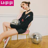 【618大促-每满100减50】Lagogo/拉谷谷2017年冬季新款时尚V领长袖针织衫