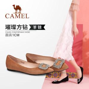 骆驼女鞋 秋季新款 时尚优雅水钻扣饰羊�S尖头平底浅口单鞋女