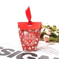 结婚喜糖盒纸盒欧式婚礼糖盒韩版婚庆小号清新糖果盒粉色森系 【合约】 红喜花仙女袋3