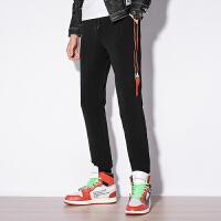 休闲裤男黑色薄款百搭修身小脚弹力裤子韩版织带运动裤潮男春季。