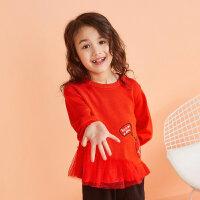 【1件2折到手价:43.8】moomoo童装女童毛衣新款春装纯棉洋气中大儿童套头毛衫