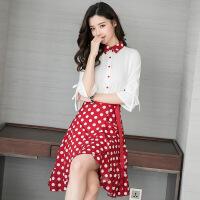 2018春气质雪纺长袖衬衫+鱼尾裙波点两件套小香风套装女 白衣+红裙