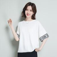 圆领冰麻针织衫新款袖2018春款女中韩版宽松套头薄毛衣一件 均码