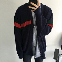 秋季毛衣男针织衫开衫外套毛衣宽松男韩版毛衣男撞色开衫 蓝色
