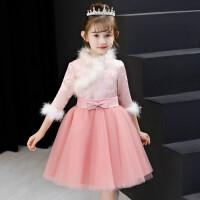 女童婚纱公主裙长袖加厚秋冬季小花童礼服女婚礼宝宝周岁儿童生日 粉红色