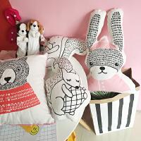 韩国韩版可爱卡通创意狐狸兔子松鼠动物靠垫汽车抱枕卡通靠垫