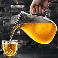 汉馨堂 冷水壶 耐热耐高温玻璃壶家用大容量凉白开水壶扎壶透明果汁花茶壶杯具套装