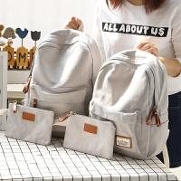 NR时尚帆布纯色书包女双肩包女韩版简约休闲中学生双肩背包大小款 灰色 中款 +小包