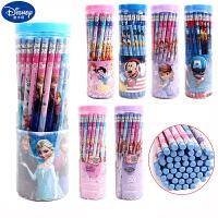 迪士尼铅笔30只50支装小学生男女生hb桶装写字冰雪奇缘圆杆橡皮头