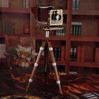 复古创意铁艺怀旧落地三脚架照相机模型工艺品摆件装饰品摄影道具
