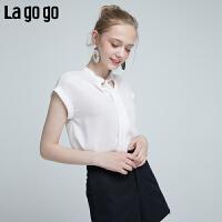 Lagogo2019夏季新款简约短袖系带时尚小清新 白色淑女雪纺上衣女HASS334M14