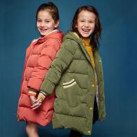 【3折价:258】笛莎童装女童羽绒服冬装新款中大童温暖手套贴袋中长款羽绒服