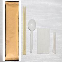 筷子一次性1000套装勺子四件套批发外卖打包餐具定制logoc 经典纯牛皮纸)白勺 300套