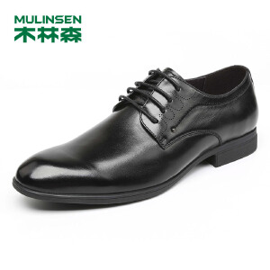 木林森男鞋2018秋冬新款真皮皮鞋系带修面商务休闲鞋 87053007