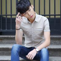 男士短袖�r衫�n版修身�r衣2018夏季新款青年休�e���獯缟辣�