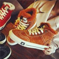 欧洲站冬季新款布洛克真皮短靴毛毛马丁靴复古女靴保暖平底女鞋潮