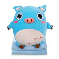抱枕被子两用汽车办公室抱枕靠垫被子毯子午睡枕空调毯三合一可爱 35X45cm(毯子1X1.65米)