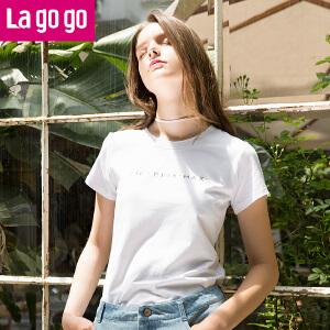 【618大促-每满100减50】Lagogo2017夏季新款直筒字母印花短袖圆领棉T恤女黑白宽松上衣