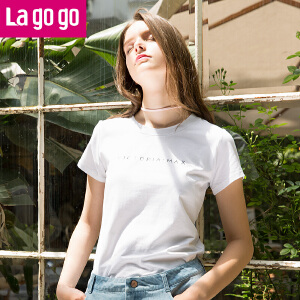 Lagogo2017夏季新款直筒字母印花短袖圆领棉T恤女黑白宽松上衣