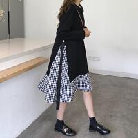 韩版裙子拼接格子系带中长款假两件长袖连衣裙女春季新款荷叶边裙