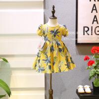 韩版夏季新品女童菠萝泡泡短袖系带收腰甜美连衣裙B8-B21