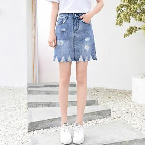 破洞牛仔裙女新款裙子半身裙高腰a字chic短裙夏
