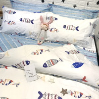 ???全棉学生宿舍寝室单人床三件套1.2米床上用品纯棉被套床笠四件套 鱼儿WM 2.0m(6.6英尺)床 ◆床笠款套件