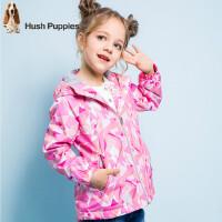 【3件3折:168元】暇步士童装春季新款女童外套时尚保暖摇粒绒内衣印花风衣外套儿童风衣外套