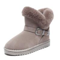 雪地靴女2018新款冬季绒面厚底防滑棉鞋女加绒保暖中筒靴雪地靴