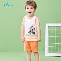 迪士尼Disney童装 男童米奇印花套装夏季新款儿童纯棉背心短裤两件套192T911