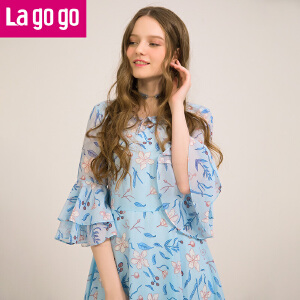 Lagogo2018夏季新款浅蓝色碎花V领绑带连衣裙女中裙小清新裙子HALL303G65
