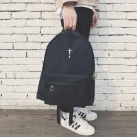 双肩包男时尚潮流韩版简约运动背包男士黑色双肩包中学生休闲书包 十字架