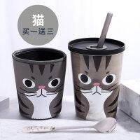 霸王陶瓷杯马克杯大容量早餐杯可爱杯子带盖勺创意水杯吸管杯a233
