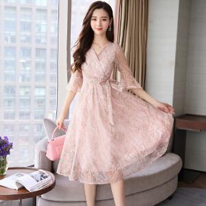 风轩衣度 甜美蕾丝韩版个性V领长袖中长款舒适2018年夏季连衣裙纯色-2133-8910